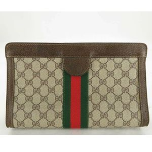 💯 AUTH GUCCI PURFUMS VINTAGE GG SHERRY PVC CLUTCH